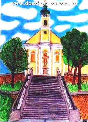 Mélykúti templom - pasztell rajz