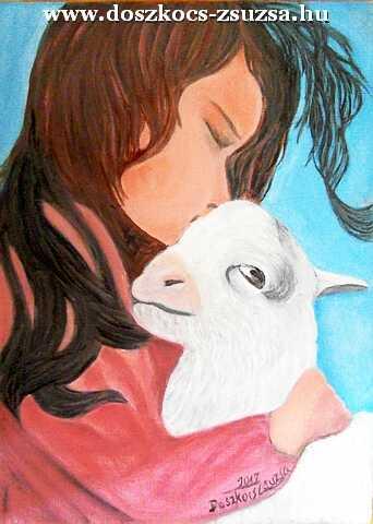 A lány és a bárány - olajfestmény