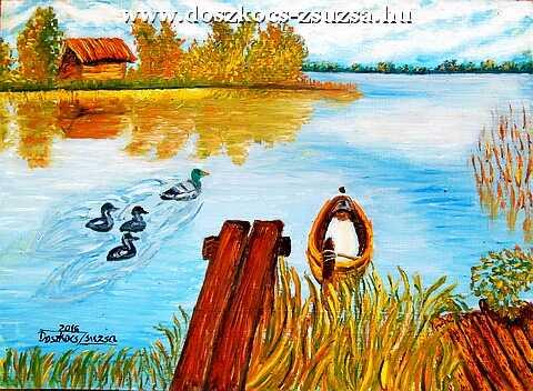 Kis kacsa úszik - olajfestmény
