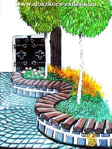 Szentendre - Kmetty múzeum udvara - akril festmény