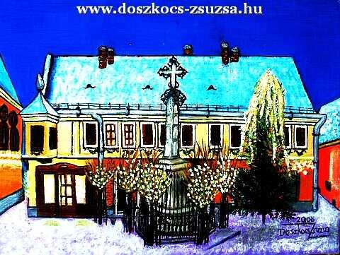 Főtér karácsony éjjel (Szentendre) - akril festmény