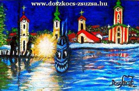 Szentendre éjjel - akril festmény