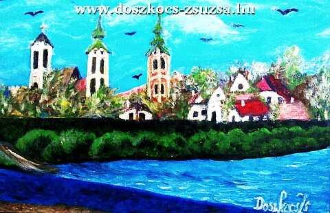 Parti föveny Szentendrénél - akril festmény