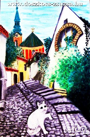 In Szentendre afternoon with cat - oil painting