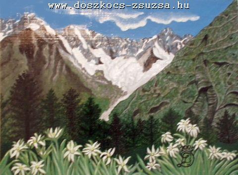 Svájci hegyek havasi gyopárral- akril festmény