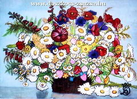 Kerti virágok - akril festmény