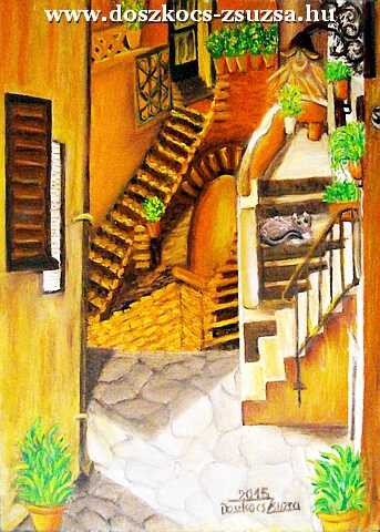 Lépcsők - olajfestmény