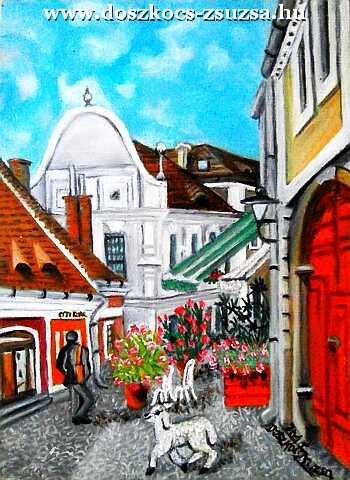 Szentendre lamb - Oil painting on Fibreboard 30x40 cm, Rambling places from the series
